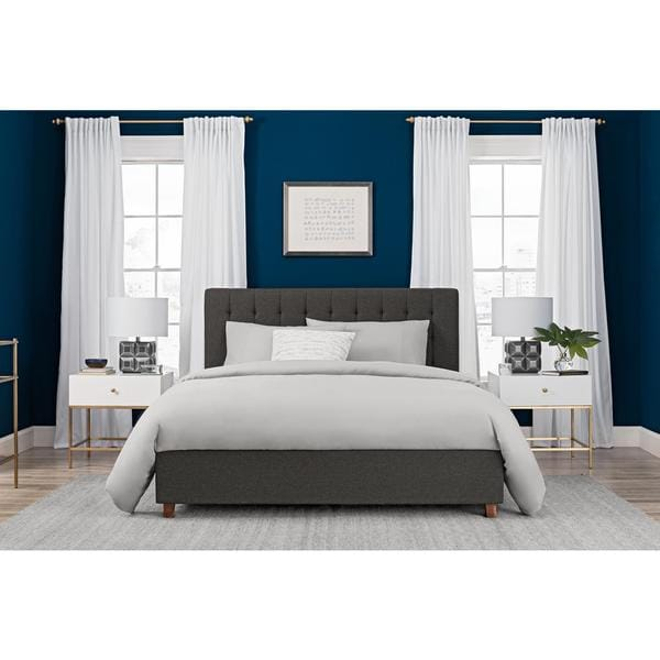 DHP Emily Grey Linen Upholstered Queen Bed. DHP Emily Grey Linen Upholstered Queen Bed   Free Shipping Today