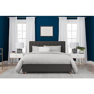 DHP Emily Grey Linen Upholstered Queen Bed