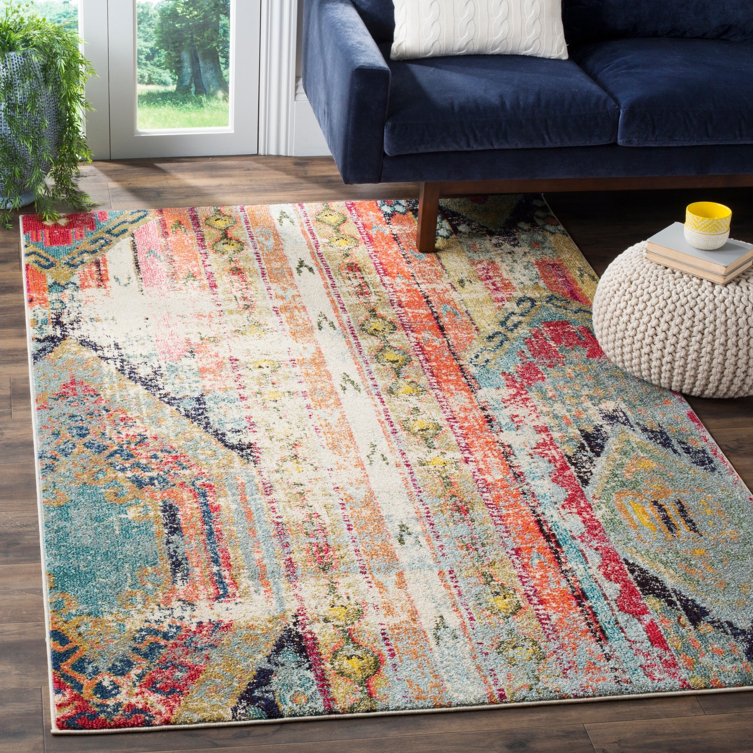Safavieh Monaco Vintage Bohemian Multicolored Distressed Rug - 9' Square