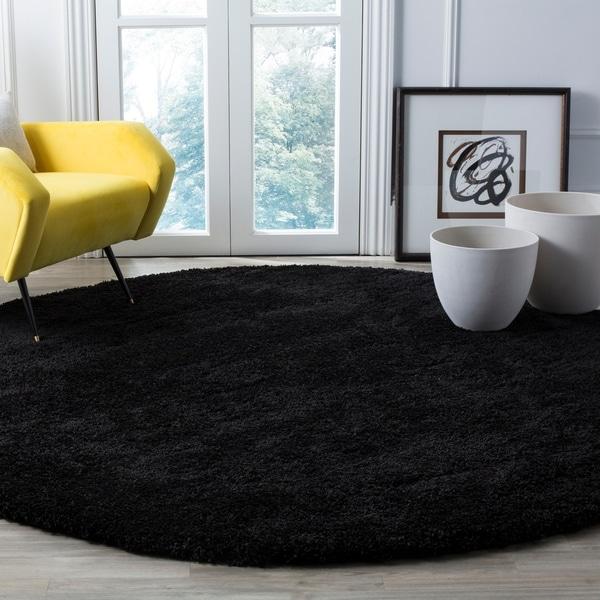 Safavieh Milan Shag Black Rug - 7' x 7' Round