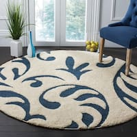 Safavieh Florida Shag Ultimate Cream/ Blue Rug (7' Round)