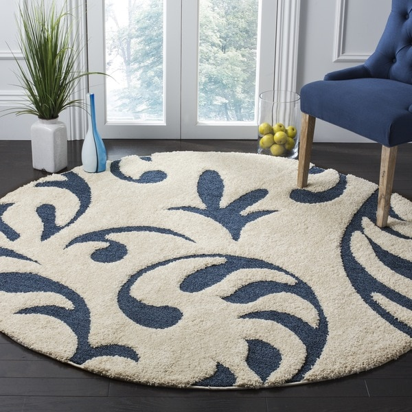 Safavieh Florida Shag Ultimate Cream Blue Rug 7 Round
