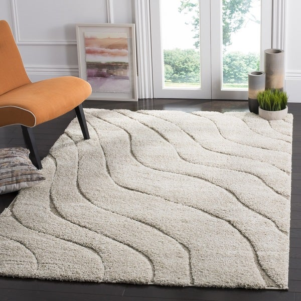 Safavieh Florida Ultimate Shag Contemporary Cream/ Beige Rug (6' 7 Square)