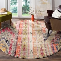 Safavieh Monaco Vintage Bohemian Light Grey / Multi Distressed Rug - 6' 7 Round