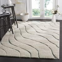 Safavieh Florida Shag Soft Serene Waves Cream/ Grey Rug - 6' 7 Square