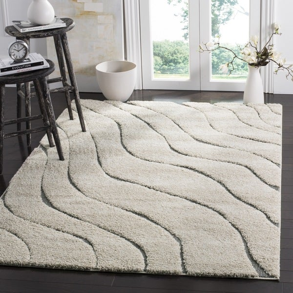 Safavieh Florida Ultimate Shag Contemporary Cream/ Grey Rug - 6' 7 Square