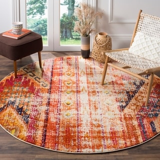 Safavieh Monaco Vintage Bohemian Orange/ Multi Distressed Rug (6' 7 Round)