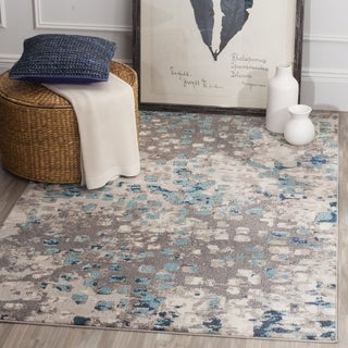 Safavieh Monaco Abstract Watercolor Grey / Light Blue Distressed Rug (6' 7 Square)