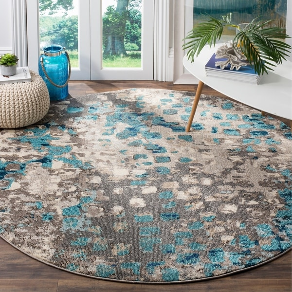 Safavieh Monaco Abstract Watercolor Grey / Light Blue Distressed Rug - 5' Round
