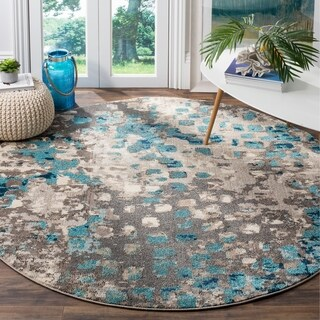 "Safavieh Monaco Abstract Watercolor Grey / Light Blue Distressed Rug (6' 7"" Round)
