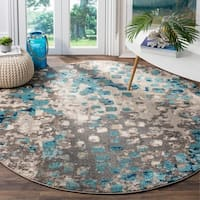 Safavieh Monaco Abstract Watercolor Grey / Light Blue Distressed Rug - 6' 7 Round