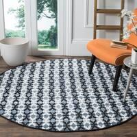 Safavieh Montauk Handmade Geometric Flatweave Ivory Blue/ Black Cotton Rug (6' Round)