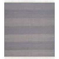 Safavieh Hand-Woven Montauk Flatweave Ivory/ Navy Cotton Rug - 6' x 6' Square