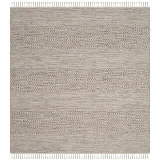 Safavieh Hand-Woven Montauk Flatweave Ivory/ Steel Grey Cotton Rug (6' Square)