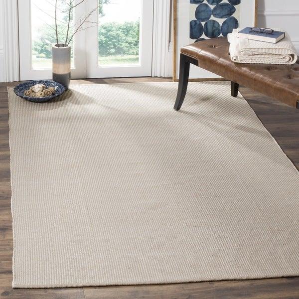 Safavieh Hand-Woven Montauk Flatweave Ivory/ Grey Cotton Rug (6' Square)