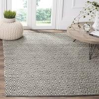 Safavieh Montauk Handmade Geometric Flatweave Ivory/ Dark Grey Cotton Rug - 6' x 6' Square