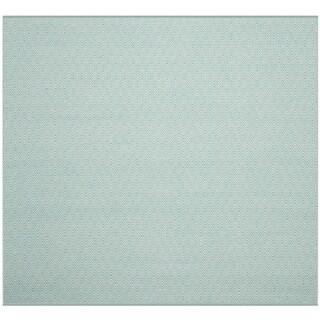 Safavieh Handmade Flatweave Montauk Eliina Casual Cotton Rug (6 x 6 Square - Ivory/Aqua)
