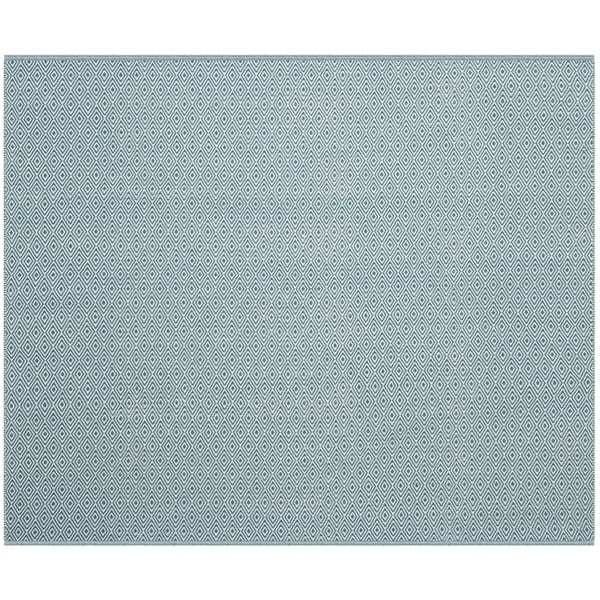 Safavieh Hand-Woven Montauk Flatweave Ivory/ Turquoise Cotton Rug (4' Square)