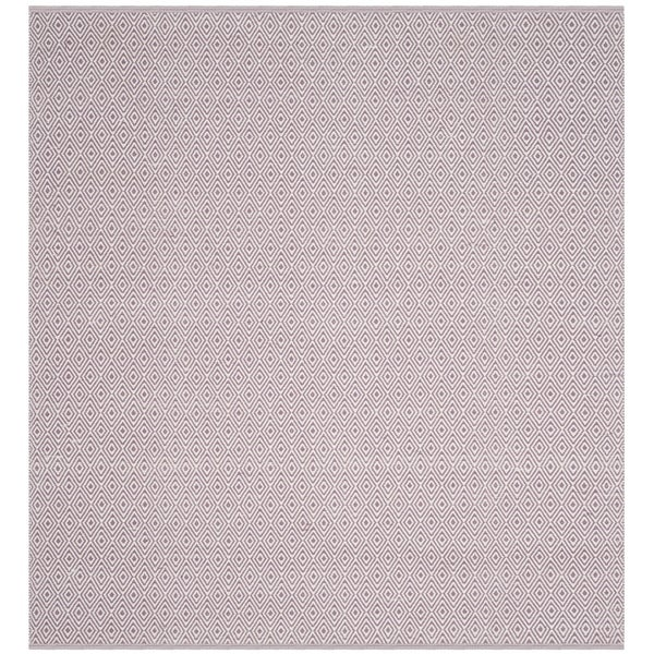 Safavieh Hand-Woven Montauk Flatweave Ivory/ Purple Cotton Rug (6' Square)