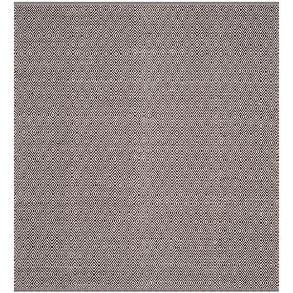 Safavieh Hand-Woven Montauk Flatweave Ivory/ Chocolate Cotton Rug - 6' Square
