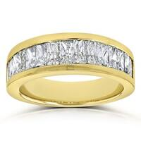 Annello by Kobelli 14k Yellow Gold 2 1/6 Carats TDW Princess Baguette Diamond Wedding Band, 6.85mm