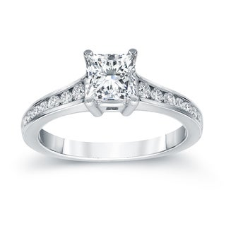 Auriya Platinum 1ct TDW Princess-Cut Diamond Solitaire Engagement Ring