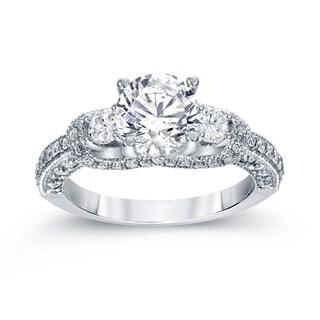 Auriya Platinum 2ct TDW Vintage Round 3-Stone Diamond Engagement Ring