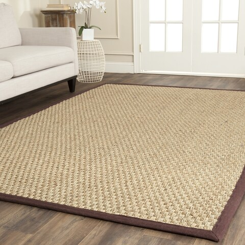 Safavieh Natural Fiber Marina Natural/ Dark Brown Seagrass Rug - 8' x 8' Square