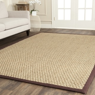 Safavieh Natural Fiber Contemporary Natural/ Dark Brown Seagrass Rug (8' Square)