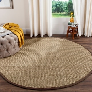 Safavieh Natural Fiber Contemporary Natural/ Dark Brown Seagrass Rug (8' Round)