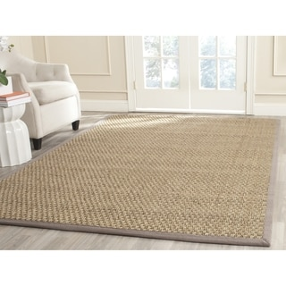 Safavieh Natural Fiber Contemporary Natural/ Grey Seagrass Rug (5' Square)