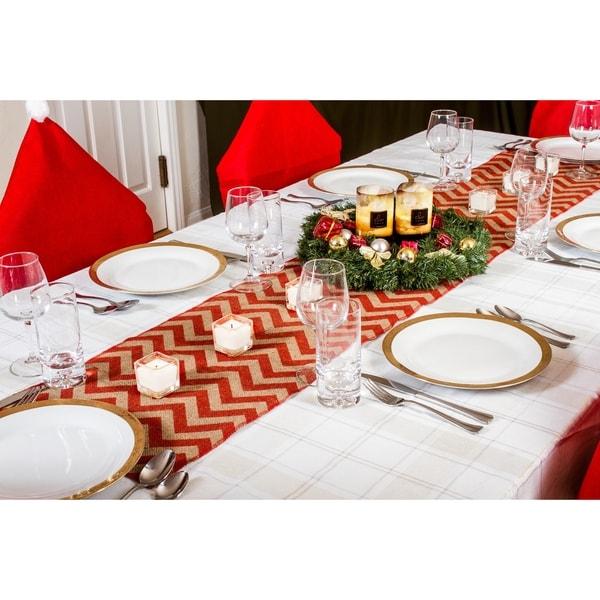 Chevron Design Country Burlap 70-inch Christmas Table Runner