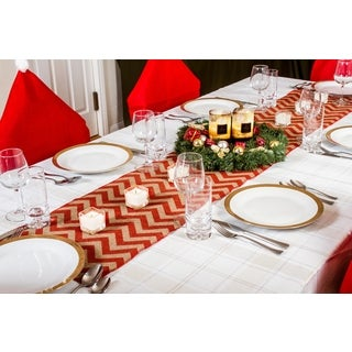 Chevron Design Country Burlap 70-inch Christmas Table Runner