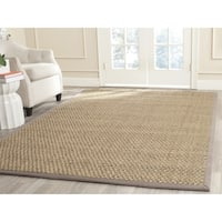 Safavieh Natural Fiber Contemporary Natural/ Grey Seagrass Rug - 7' x 7' Square