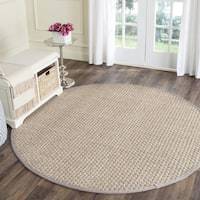 Safavieh Natural Fiber Contemporary Natural/ Grey Seagrass Rug (7' Round)