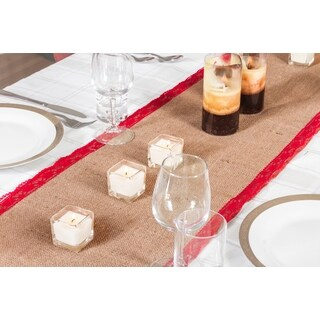 Xmas Table Linens Red Burlap 70-inch Christmas Table Runner