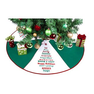 Season's Greetings Green Polyester 36-inch Christmas Tree Skirt