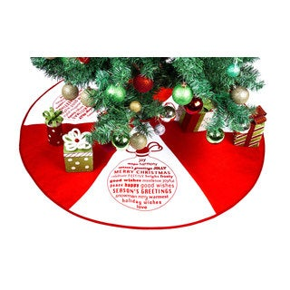 'Seasons Greetings' Red Polyester Indoor Christmas Tree Skirt