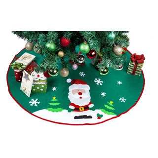 Santa Claus Happy Christmas Green Polyester 42-inch Tree Skirt