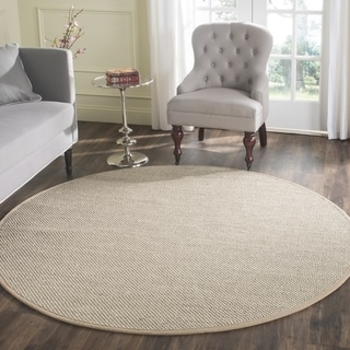 Safavieh Casual Natural Fiber Marble/ Ivory Linen Sisal Area Rug (10' Round)