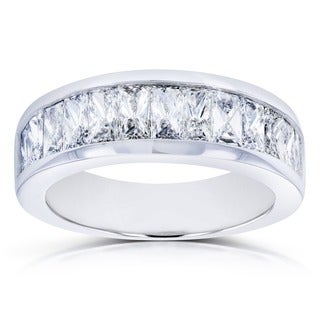 Annello by Kobelli 14k White Gold 2 1/4 Carats TDW Princess Baguette Diamond Wedding Band