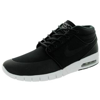 Nike Men's Stefan Janoski Max Mid Black/Black/Metallic Silver/White Skate Shoes