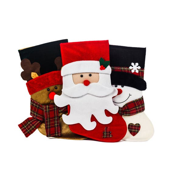 Christmas Stockings Cartoon.Santa Claus And Friends Xmas Icon Multicolor Polyester 18 Inch Christmas Stockings Pack Of 3
