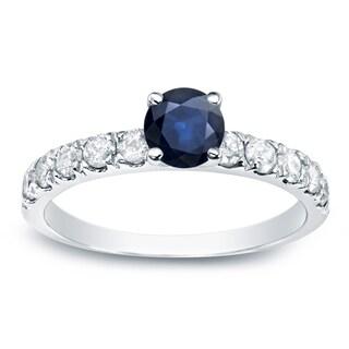 Auriya Platinum 1/2ct Blue Sapphire and 1/2ct TDW Round Diamond Engagement Ring (G-H, I1-I2)