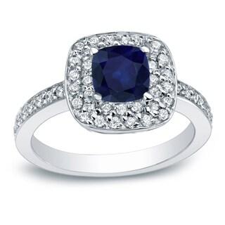 Auriya Platinum 3/4ct Cushion cut Blue Sapphire and 3/4ct TDW Round Diamond Engagement Ring (G-H, I1-I2)
