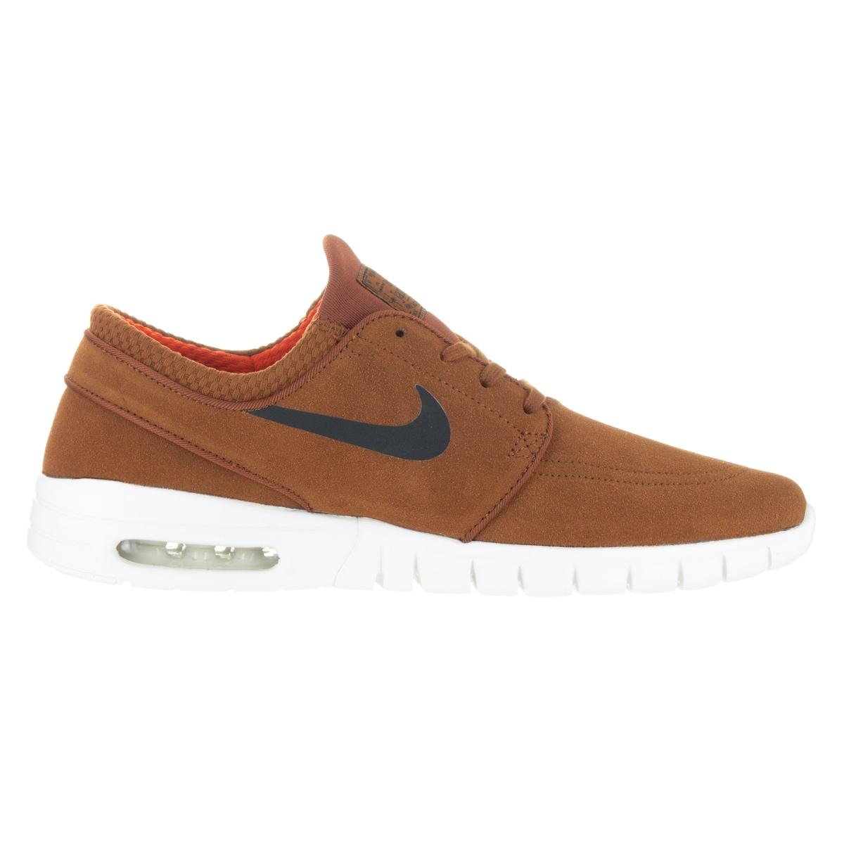 Nike Men's Stefan Janoski Max L HazelnutBlackIvoryClay Orange Skate Shoes