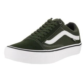 Vans Men's Old Skool Pro Dark Green and White Skate Shoe