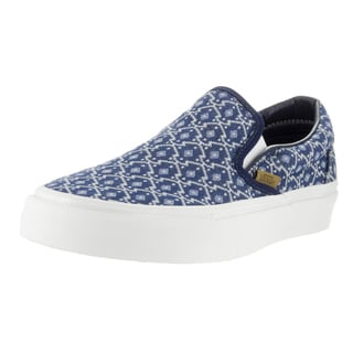 Vans Unisex Eclipse Blue and White Classic Slip-on Blanket-weave Skate Shoe