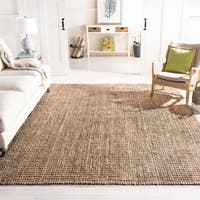 Safavieh Handmade Natural Fiber Barbados Chunky Thick Natural/ Grey Jute Rug - 8' x 8' Square