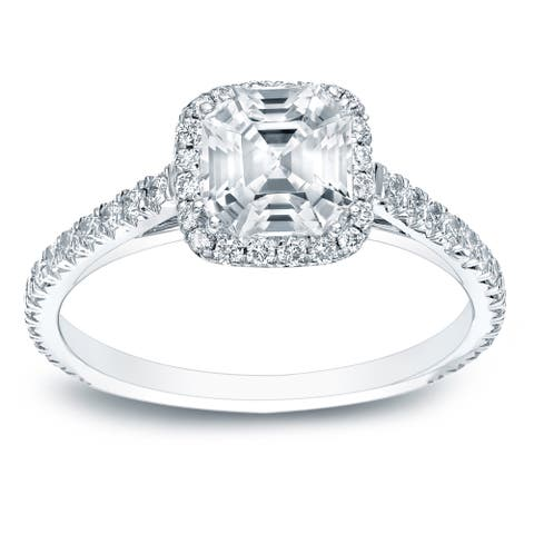 Auriya Platinum 1 1/2ctw Asscher-cut Halo Diamond Engagement Ring Certified